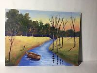 landscape oil painting original signed Red boat on canvas panel.