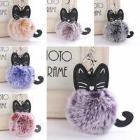 Cartoon Cat Fluffy Ball Key Chain Pompom Tail Rabbit Fur Car Bag Keyring Gifts