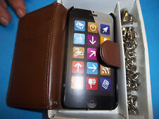 BROWN CHAIN WALLET / CREDIT CELL PHONE CASE FITS APPLE  I4 87504 FREE SHIPPING
