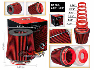 RED Universal Inlet Air Intake Cone Open Top Dry Replacement Filter For Hyundai