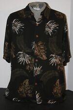 Caribbean  Mens (L) 100% Rayon Herringbone Black Fern Leaf Design Island Shirt