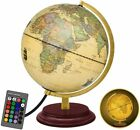 LEYONA Illuminated World Globe for Kids,Antique Globes of The World with Stand,