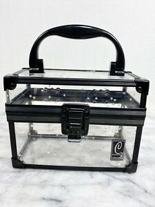 Caboodles Case Black Clear Holographic Stars Makeup  w/ Handle Hardcase - No Key