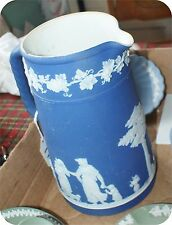 """Antique Jasper Ware blue pitcher 7 1/2 """"tall marked Wedgwood England.1900 As Is"""
