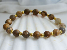 Natural Brown Picture Jasper Beaded Stretchy Bracelet Stacking Bracelet