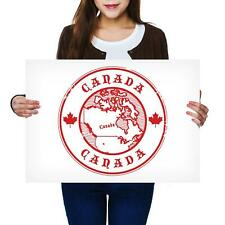 A2   Canada Red Map Maple Leaf Ottawa Size A2 Poster Print Photo Art Gift #4582