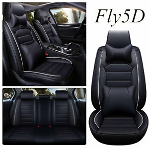 Luxury Black PU Leather Car Seat Front Rear Covers For Toyota Corolla Camry RAV4
