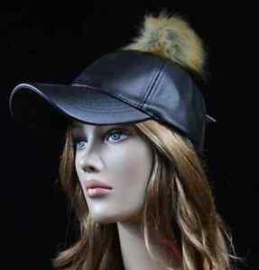 Baseball Cap Faux Leather Vintage Hat Plain Pom Fur Fashion Casual Hip Hop Hats