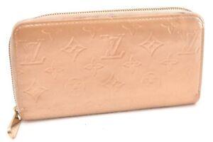 Auth Louis Vuitton Vernis Zippy Coin Purse Long Wallet Gold LV 57739