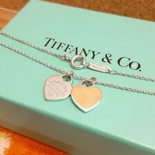 Tiffany & Co. Return to Double Heart Necklace Enamel Pink Silver 925