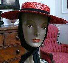 "1940`s Red Straw Hat with Black tie on detail ""Beresford"" design"