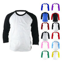 New 3/4 Raglan Sleeve Baseball Jersey Round T-Shirt Tees Vintage Shirts Sz XS-XL