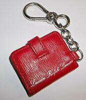 Polo Ralph Lauren Women Proprietor Red Leather Photo Silver Chain Key Ring EUC