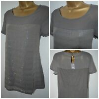 NEW NEXT LADIES TOP TUNIC BLOUSE GREY SEQUIN EMBELLISHED CHIFFON SIZE 6 - 22