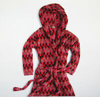Vera Bradley Bohemian Chevron Robe PLUSH Hooded Fleece Red Pink S M 4 - 10 NEW