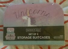 Paper Place Set Of 3 Unicorn Storage Suitcases. With Handles. New. Sealed.
