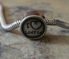 "Edelstahl Bead Element Rund "" I love London"" Antiksilber für Armband 1407"