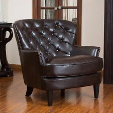 Leather Club Chair Tufted Brown Armchair Round Back Wide Plush Seat Accent Side