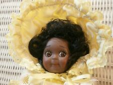 """8"""" Black Googly Eyes Doll JDK 221 Made n Germany 86' Yellow Dotted Swiss Clothes"""