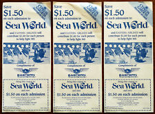 3 x Florida. $1.50 Sea World, $2 Cypress Gardens, Eastern Airlines Coupons 1985