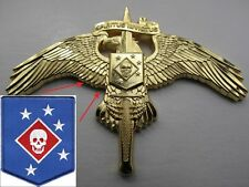 Raider SKULL on MarSoc Badge Pin US Marine Corps USMC SOCOM Tactical Combat USMC