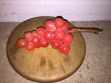 Early Vintage Antique Italian Alabaster Stone Fruit Alabaster Salmon Pink Grapes