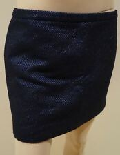 MAURO GRIFONI NERO BLU METALLIZZATO misto lana con trama da Sera Minigonna 44 UK12