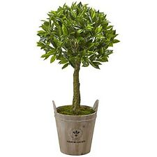 Nearly Natural 5951 38 In Sweet Bay Topiary With European Barrel Planter Green