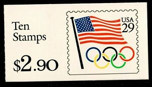 Scott BK186 29¢ Flag & Olympic Rings Booklet MNH Free shipping in USA!