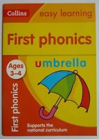 Collins First Phonics Easy Learning Preschool Book For Kids Ages 3-4 Years New