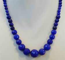 "6-14mm Faceted Blue Sapphire Round Beads Gems Necklace 18"" JN951"