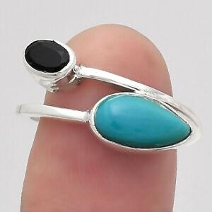 Natural Rare Turquoise Nevada Aztec Mt and Black Onyx 925 Silver Ring s.7.5 E713