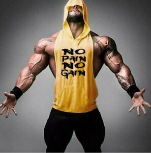 Men's Gym Shirt Bodybuilding Fitness Muscle Hooded Tank Tops Run Training Cotton
