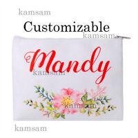 Personalised canvas makeup bag custom cosmetic bag wedding bridesmaid party gift