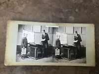 victorian stereoview -  the schoolmaster ( with a pupil )