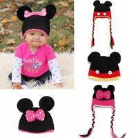 Newborn Infant Toddler Baby Handmade Wool Knitted Crochet Mouse Beanie Cap Hat