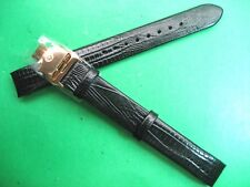 BULOVA ACCUTRON BLACK LEATHER STRAP BAND LADIES WATCH 14 MM LUG ROSE G/P CLASP