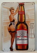 Tin Sign Budweiser Beer Bottle Sexy Pin Up Girl Retro Metal Signs Plaques Decor