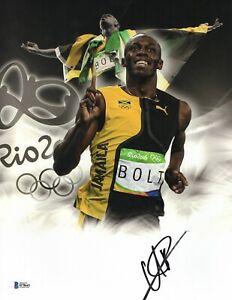 JAMAICA USAIN BOLT SIGNED 2009 SUMMER OLYMPICS 'JAMAICA' 11X14 PHOTO BAS COA 6