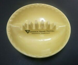 Vintage Pickwick Arms Hotel Greenwich Connecticut CT Ashtray Anholt Yellow