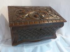 Ancien coffre boite bois sculpture 19 eme antique french old eglise religion