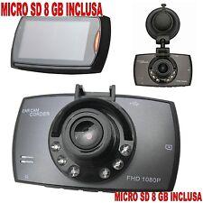 MINI CAMERA PER AUTO + SD 8 GB CAR CAM CORDER DASH CAM 2.7 LCD 1080p G SENSOR