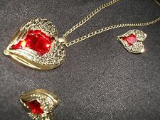 Brand New-Angel wings - Red heart shaped necklace & earring set