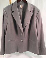 Anne Klein Women's Plus Size 24 Silver Gray Lined Two Button Blazer W30