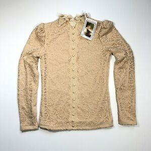 Victorian Trading Co. Hopeless Romantic Beige Cotton Lace Blouse Size Small NWT