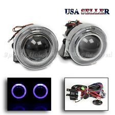 """JDM STYLE 3"""" PROJECTOR BLUE LED HALO FOG LIGHTS/LAMPS W/ SWITCH FOR TOYOTA NEW"""