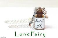 Alice in Wonderland Drink Me Bottle Chain Necklace Bronze or Silver Steampunk