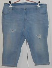 WOMEN'S OLD NAVY LIGHT WASH PATCHED BOYFRIEND SKINNY CUFFED JEANS - SIZE 28 PLUS