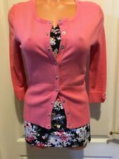 White House Black Market Coral Twin Set Top Cardi Cardigan Sweater XS WHBM
