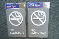 "Set Of 2 No Smoking Signs Home Or Work  9"" Tall x 6"" Wide By A. D. A. Signs New"